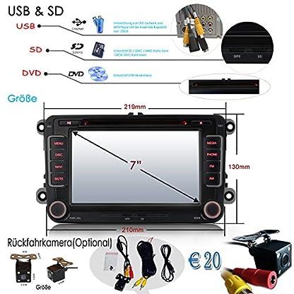 iFreGo-7-Autoradio-DVD-GPS-Rckfahrkamera-Fr-VW-Golf-56Passat-CCTiguanPoloJettaSkoda-FabiaOctaviaYeti-Seat-LeonTouranCandy-Sharan3G-WiFi-Navigation-NAVI-SD-USB-MP3-CDCANBUS7-LED