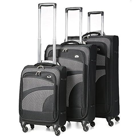 Aerolith 4 Koffer Räder leichtes Gepäck Spinner, 75 cm, 105 Liter, schwarz, Los 3