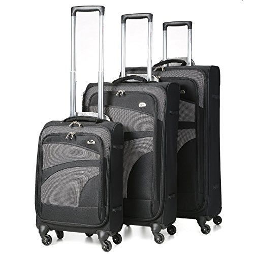 Aerolite 4 ruote luce filatore della valigia, 75 cm, 105 litro neri, 3 Lot