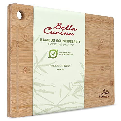 Bella Cucina© Original Profi Bambus Schneidebrett | Massives Küchenbrett aus Holz als Einzel- und 2er Set | Inklusive Saftrille und Loch zum Aufhängen (Einzelbrett 40x30cm)