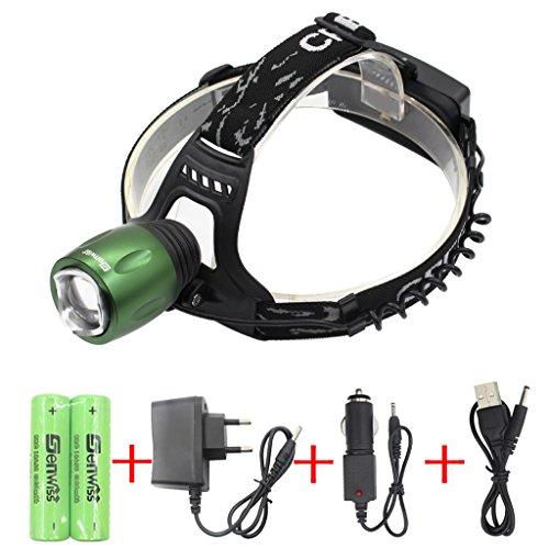 Preisvergleich Produktbild WolfWay 3000 Lumen Zoomable CREE XM-L T6 LED Kopflampe (grüner Kopf) Fackel Licht Stirnlampe Nachladbar für kampierendes Radfahren Arbeiten Jagd-Fischen-Reit-Gehen