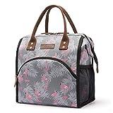 Srotek Sac à Lunch Sac Repas Isotherme Fourr-Tout Lunch Bag Portable Fleur Glaciere Souple Sac Fraicheur pour Déjeuner/Pique-Nique/Enfant/Travail/Fille/Picnic/École/Femmes -10L(Flamant)