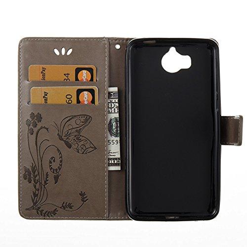 EKINHUI Case Cover Horizontale Folio Flip Stand Muster PU Leder Geldbörse Tasche Tasche mit geprägten Blumen & Lanyard & Card Slots für Huawei Y5 2017 ( Color : Red ) Gray