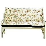 4L Textil Gartenbankauflage Bankauflage Bankkissen Sitzkissen Polsterauflage Sitzpolster (150x60x50, Rote Blumen)