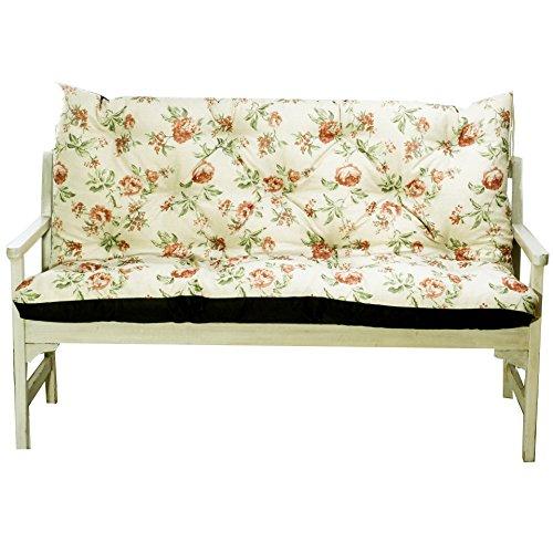4L Textil Gartenbankauflage Bankauflage Bankkissen Sitzkissen Polsterauflage Sitzpolster (120x60x50, Rote Blumen)