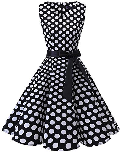Bridesmay Damen Vintage 1950er Rockabilly Ärmellos Retro Cocktailkleid Partykleid Black White Dot 2XL