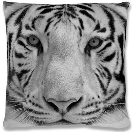 Kissenhülle mit Motiv 40x40 cm Fotodruck Fotoprint, bequemes und kraftvolles Wohnaccessoire mit und ohne Füllkissen und in vielen verschiedenen Designs verfügbar (Tiger grey / ohne Füllkissen)