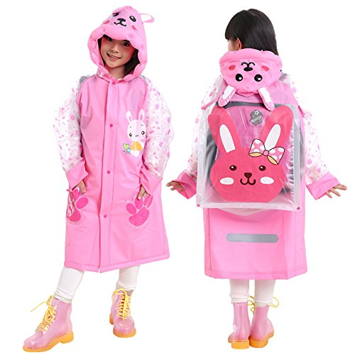 Note. Fashion Children Kids Raincoat Girls Boys Rain Coat Trench Poncho Jacket Outdoor Student Rainwear with School Bag Position