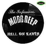 Die berühmte Mobb-Deep-Lied Hölle DN Earth Music Theme Logo auf eine Vinyl Record Album Wall Art decor- Personalisierte Painting poster-30X 30CM SCHWARZ rund hohl Kunst-3D Print Bild Wand aufhängen