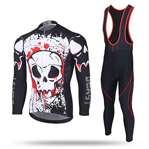 iBelly Herren Fahrradbekleidung Set Winter Schnelltrocknender Anzug Radtrikot Radfahren Langarm Wasserdicht Winddicht MTB Mountainbike Rennrad Outfit