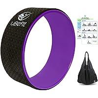 Rueda de yoga con libro electrónico y bolsa de transporte, de uBeFit, excelente para estiramientos, mejora la flexibilidad, equilibrio y fuerza y libera la tensión muscular, ayuda a aliviar el dolor y el estrés de espalda, pecho, caderas y hombros, Black-Purple