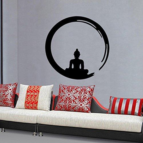 Abnehmbare Hindu sitzender Buddha mönch wandaufkleber Yoga Mandala Aufkleber Vinyl Kunst tapete DIY Home wandaufkleber 57x57 cm