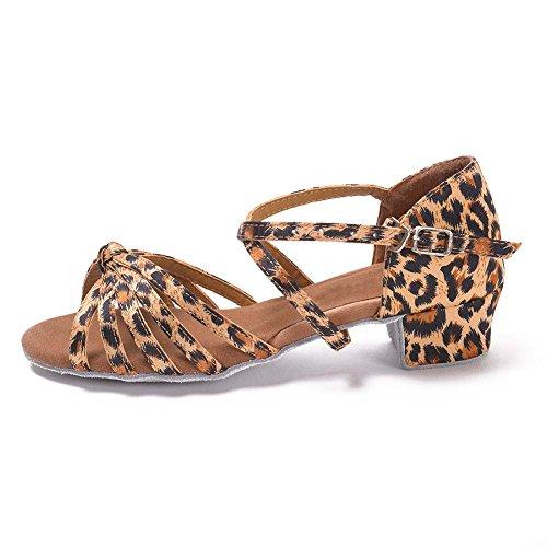 HROYL Mädchen Tanzschuhe/Latin Dance Schuhe Satin Ballsaal Modell-DS-203 Leopard