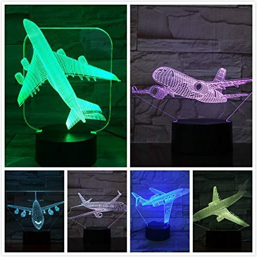 USB 3d Led Luz de Noche Modelo de Avión Ilusión Lampara Avión Regalo de Los Niños Luces Decorativas Avión de Pasajeros Lámpara de Mesa Mesita de noche A-1980