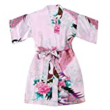 Girls' Satin Peacock and Blossoms Kimono Robe for Spa Wedding Birthday