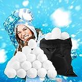 Relaxdays, weiß Künstliche Schneebälle, 50 St, Winter Deko, f. Indoor Schneeballschlacht, Stoffbälle, Kindergeburtstag, Standard