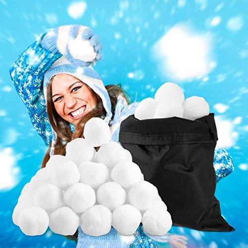 Relaxdays Künstliche Schneebälle, 50 St, Winter Deko, f. Indoor Schneeballschlacht, Stoffbälle, Kindergeburtstag, weiß