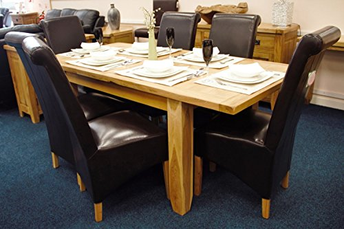 Solid Oak Extending Dining Table And Six Kelsey Leather for sale  Delivered anywhere in Ireland