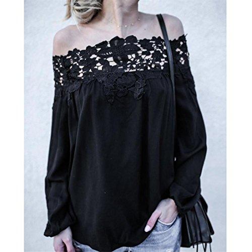 Damen Bluse Btruely Frauen Beiläufiges T-Shirt Off Shoulder Spitze Langarm Top Abbildung 3