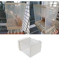 Keer123 - Cuenco dispensador de Semillas de comedero automático de Pájaros para periquitos de Budgie Cockatiel Conure African Grey Cockatoo Macaw Amazon Lovebird Finch Canary