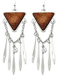 Boho Hippie Chic larga pendientes madera marrón colgante cadena bañada transparentes, 5,5 cm de largo