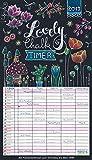Lovely Chalk Timer 2019: Familienplaner mit 5 breiten Spalten. Typo-Art Familienkalender mit Ferienterminen, Zusatzspalte, Vorschau und vielem mehr.
