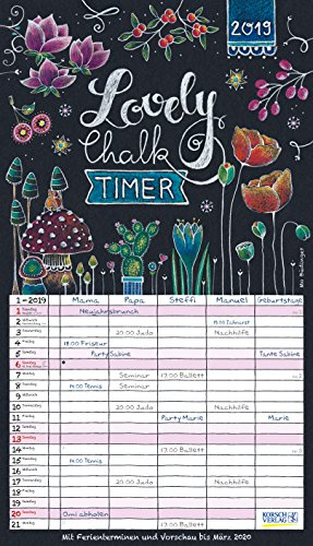 Lovely Chalk Timer 241119 2019: Familienplaner mit 5 breiten Spalten. Typo-Art Familienkalender mit Ferienterminen, Zusatzspalte, Vorschau und vielem mehr.