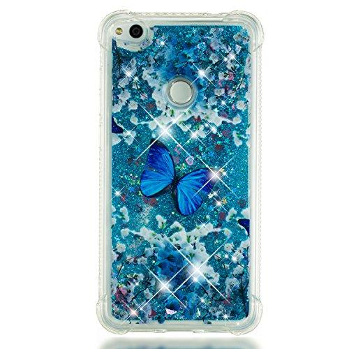 Miagon Flüssig Hülle für Xiaomi Redmi Note 5A,Glitzer Weich Treibsand Handyhülle Glitter Quicksand Silikon TPU Bumper Schutzhülle Case Cover-Blau Schmetterling