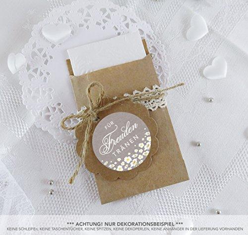 SET GROß: 48 Freudentränen Sticker + 48 braune Flachbeutel - Kraftpapier - 63 x 93 mm für Freudentränen Taschentuch Verpackungen in SAND mit weißen Blumen im Retro Packpapier Look • 4cm matt