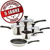 Prestige Edelstahl-Topfset hochwertig antihaft-Beschichtet 3 Induktion Kochtöpfe mit Praktischem Stiel und Glas-Deckel (16, 18, 20 cm), 1 Milch-Topf, 1 Pfanne 24 cm