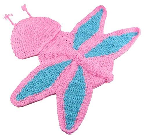 Demarkt Baby Kinder Strick Mütze Strickmütze Fotoshooting Neugeborene Set Schmetterling Muster Design Hut Kostüm Hüte Stricken Kinderfoto Beanie (Rosa) (Neugeborenen Schmetterlings Kostüm)