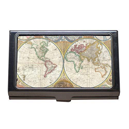 Visitenkartenetui, Karten mit Bedeutung, Weltkarte, Hundehut, Visitenkartenetui aus Edelstahl