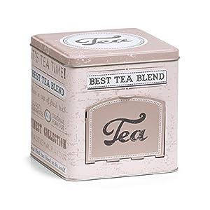 Zeller 19160Boîte à thé avec Rabat Tea, rectangulaire, métal, décor, 13x 13x 13.6cm