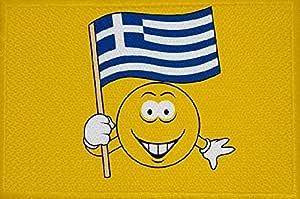U24 Aufnäher Smily Motiv Nr 57 Griechenland Fahne Flagge Aufbügler Patch 9 X 6 Cm Auto