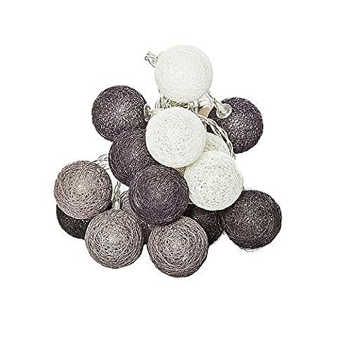 LED Lichterkette mit 16 Cotton Ball 210 cm warmweiß wunderschöne Herbst und Weihnachts Dekoration 3 Farbtöne zur Auswahl (schwarz/grau/weiß)
