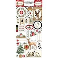 Carta Bella Paper Company CBCH89021 Christmas - Acentos de aglomerado, 6 x 12, color rojo, verde, negro, marrón