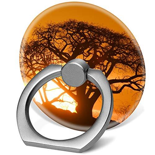 Handy-Ringständer, 360 Grad drehbar, mit Fingerring-Halterung, Haken für iPhone X/Xr/XS Max, iPhone 6/7/8 Plus, Galaxy S8/S9 Plus, Afrika Botswana Einstellung Sonne
