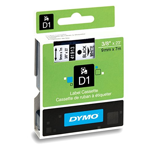 D1 Standard Tape Cartridge for Dymo Label Makers, 3/8in x 23ft, Black on White, Sold as 1 Each