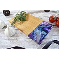 Bamboo Board with Purple Resin Art 24x15cm | Small Wooden Chopping Board for Kitchen