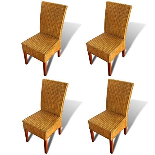 Set aus 4 handgewebten Rattan-Esszimmerstühlen