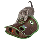 Sotoboo Best Indoor Cat Toy - Cat Mice Toy Hide & Seek Game Pop-up Collapsible Puzzle Exercise Toy 9 Holes Mouse Hunt Bell ball