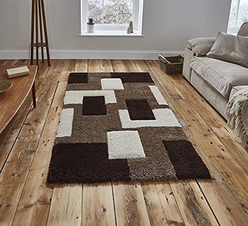 Think Rugs Fashion 7646 - Shaggy-Teppich mit Hochflor - handgeschnitten - Beige - 160 x 220cm -