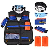 Wuudi Taktische Weste Jacke Kit (mit 50er Blau Schaumstoff Darts + Schutzbrille + Nahtlose Gesichtsmaske + 2er Clip Magazine für 5 Darts) Für Nerf N-Strike Elite Serie Spielzeuggewehre