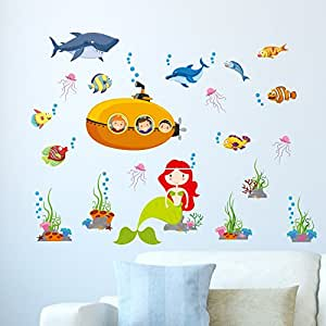 Amazon Brand - Solimo Wall Sticker for Kids' Room (Magic Under The sea, Ideal Size on Wall: 130 x 100 cm)