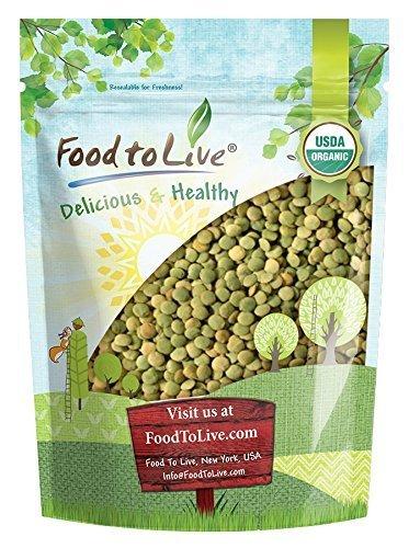 Ganze Bio Grüne Linsen, 1 Pfund - Ganze trockene Bohnen, GVO-Frei, koscher, roh, keimbar, Bulk