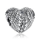 Angelic Federn Herz Amulett 925Sterling Silber Amulett für Pandora, europäischen Armbänder kompatibel