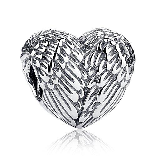 Perlen Charms Und Schmuck (Angelic Federn Herz Amulett 925Sterling Silber Amulett für Pandora, europäischen Armbänder kompatibel)