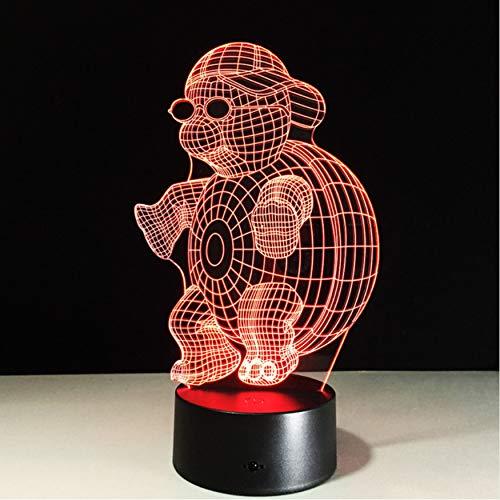 Schildkröte Mit Sonnenbrille 3D Led Nachtlicht Lampe 7 Farben Ändern Touch Nachtlicht Für Kinder Steigung Neuheit Beleuchtung