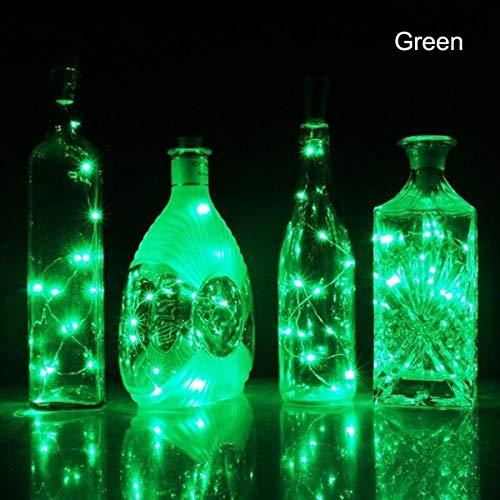 Cikuso 1 Pieza Solar 2M Led en Forma De Corcho 20 Led Luz Luz Solar De Corcho Lámpara De Botella De Vino Regalo De Celebración De La Fiesta San Valentín Verde