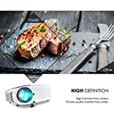 Projector, ELEPHAS 3500 Lumens HD Video Projector 200 Home Cinema LCD Movie Projector Support 1080P HDMI VGA AV USB Micro SD Ideal for Home Theater Entertainment Party and Games, White